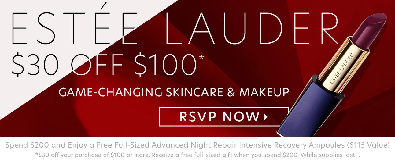 Estée Lauder: $30 Off $100